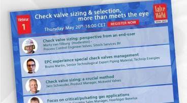 Valve World Series webinar - check valve sizing & selection