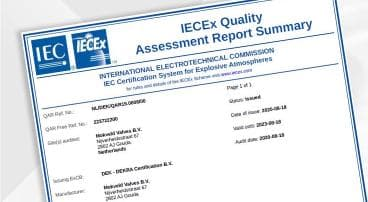 Mokveld acquires ATEX and IECEx certificate