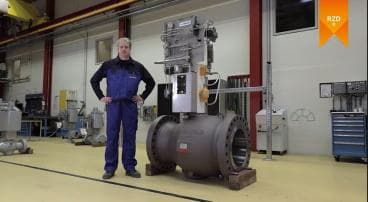 """Video of a 20""""/class600 axial anti surge control valve"""