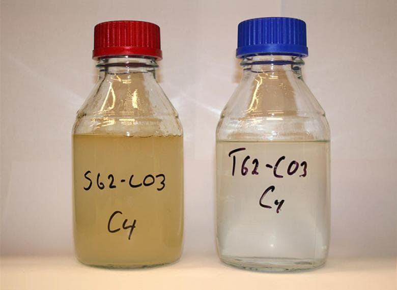 Example of water quality improvement between standard valve (left) and Typhoon Valve System (right)