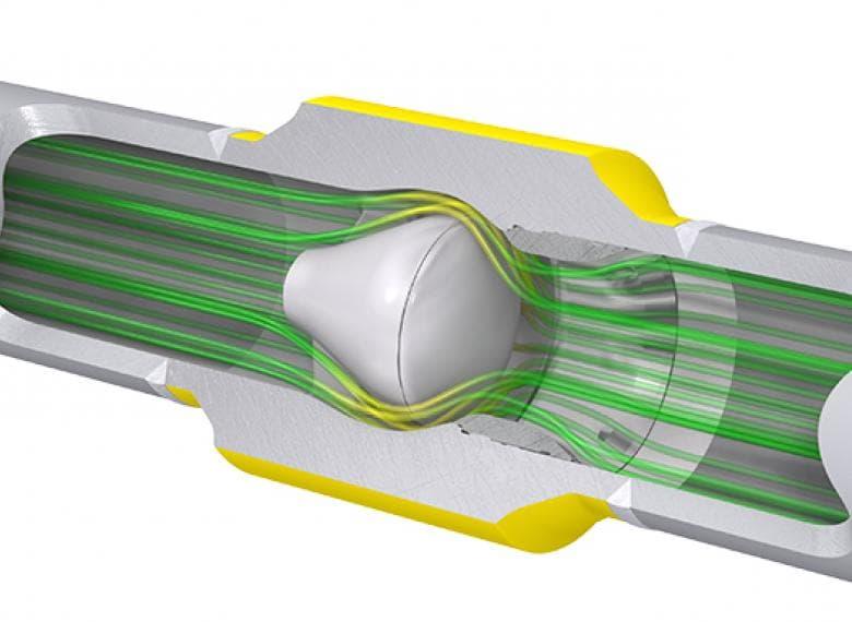 Спрямленное осесимметричное течение среды через полнопроходной расширенный корпус