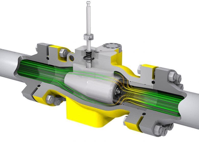Trayectoria de flujo optimizado a través del cuerpo expandido de puerto completo